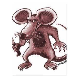 angry rat with knife sepia postcard
