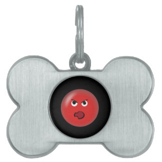 Angry Red Smiley Pet Name Tag