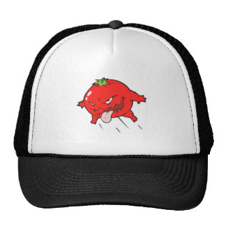 angry rotten tomato cartoon character mesh hats