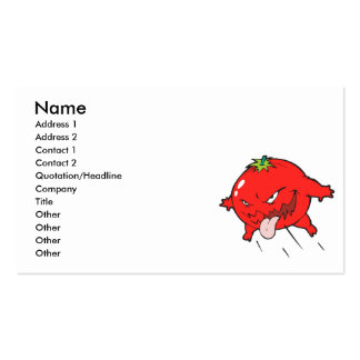 angry rotten tomato cartoon character pack of standard business cards