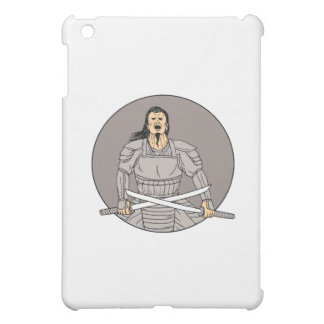 Angry Samurai Warrior Crossing Swords Oval Drawing Cover For The iPad Mini
