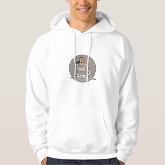 Angry Samurai Warrior Crossing Swords Oval Drawing Hoodie