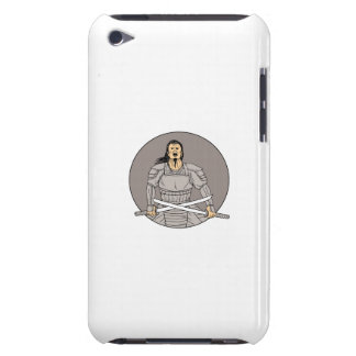 Angry Samurai Warrior Crossing Swords Oval Drawing iPod Case-Mate Case