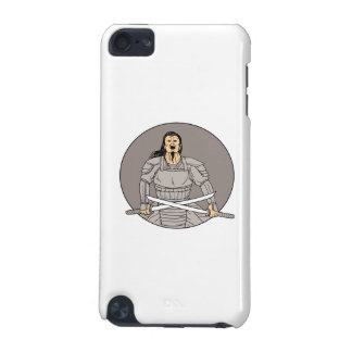 Angry Samurai Warrior Crossing Swords Oval Drawing iPod Touch (5th Generation) Covers