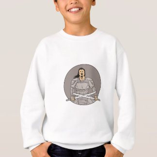Angry Samurai Warrior Crossing Swords Oval Drawing Sweatshirt