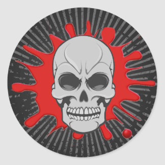 Angry Skull & Blood Splat: Custom Sticker