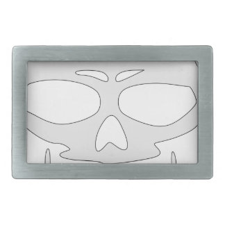 Angry Skull Face Rectangular Belt Buckle