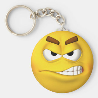 Angry Smiley Face Basic Round Button Keychain