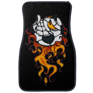 Angry soccer ball on fire car mat