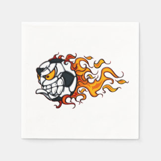 Angry soccer ball on fire napkin