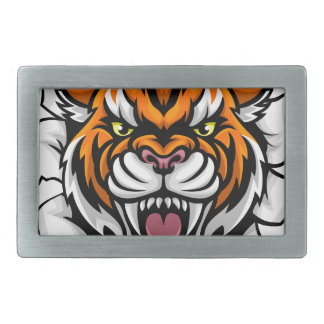 Angry Tiger Background Breakthrough Belt Buckles