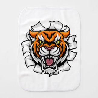 Angry Tiger Background Breakthrough Burp Cloth