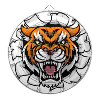 Angry Tiger Background Breakthrough Dartboard