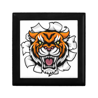 Angry Tiger Background Breakthrough Gift Box