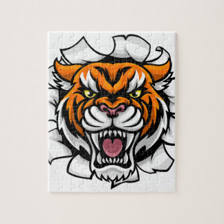 Angry Tiger Background Breakthrough Jigsaw Puzzle