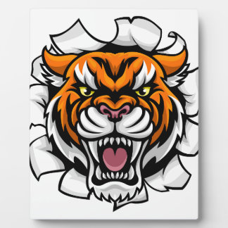 Angry Tiger Background Breakthrough Plaque