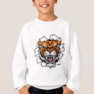 Angry Tiger Background Breakthrough Sweatshirt