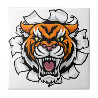 Angry Tiger Background Breakthrough Tile