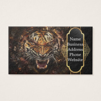 Angry Tiger Breaking Glass Yelow Business Card