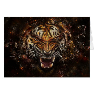 Angry Tiger Breaking Glass Yelow Card