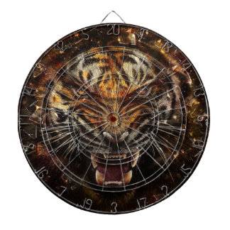 Angry Tiger Breaking Glass Yelow Dartboard With Darts