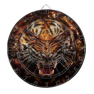 Angry Tiger Breaking Glass Yelow Dartboards