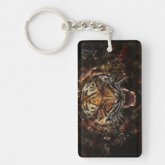 Angry Tiger Breaking Glass Yelow Double-Sided Rectangular Acrylic Keychain