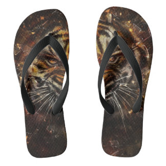 Angry Tiger Breaking Glass Yelow Flip Flops