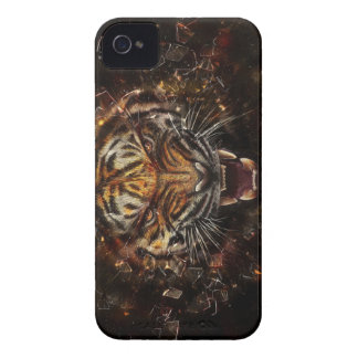 Angry Tiger Breaking Glass Yelow iPhone 4 Cover