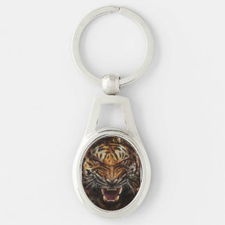 Angry Tiger Breaking Glass Yelow Silver-Colored Oval Keychain