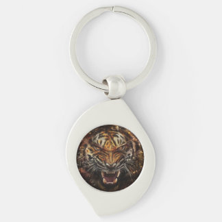 Angry Tiger Breaking Glass Yelow Silver-Colored Swirl Keychain