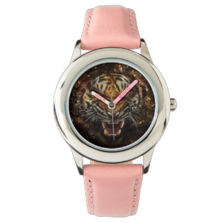 Angry Tiger Breaking Glass Yelow Watches