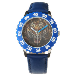 Angry Tiger Breaking Glass Yelow Wristwatch