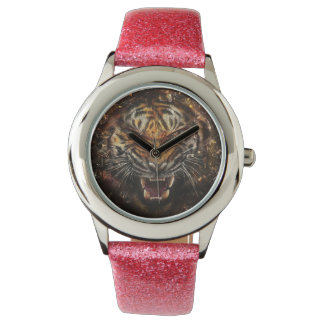 Angry Tiger Breaking Glass Yelow Wristwatches