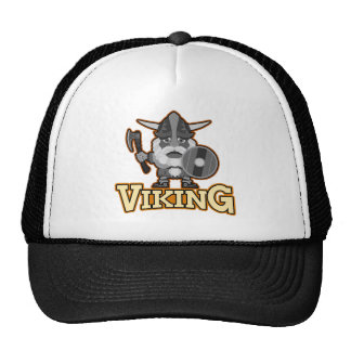 Angry viking with ax and shield. trucker hat