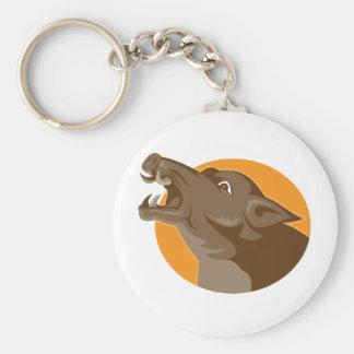 angry wild pig head retro basic round button keychain