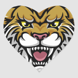 Angry Wildcat Background Breakthrough Heart Sticker