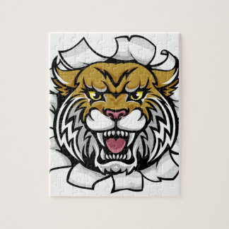 Angry Wildcat Background Breakthrough Jigsaw Puzzle