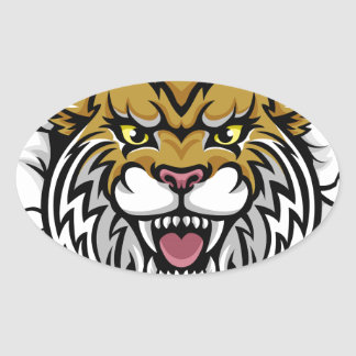 Angry Wildcat Background Breakthrough Oval Sticker