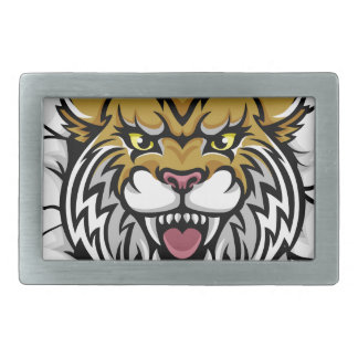 Angry Wildcat Background Breakthrough Rectangular Belt Buckles