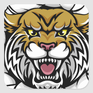 Angry Wildcat Background Breakthrough Square Sticker