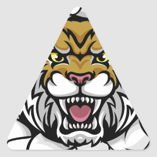 Angry Wildcat Background Breakthrough Triangle Sticker