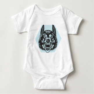 Angry wolf baby bodysuit