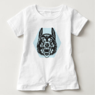 Angry wolf baby romper