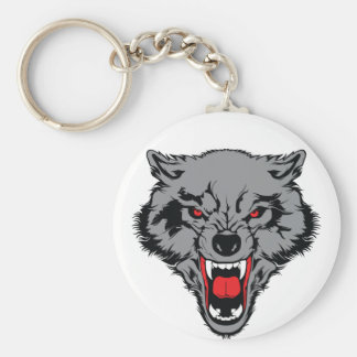 Angry Wolf Basic Round Button Keychain