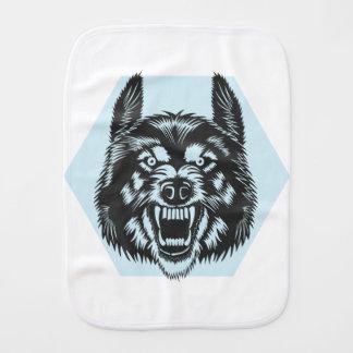 Angry wolf burp cloth