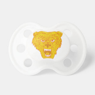 Angry Wolf Head Mono Line Baby Pacifier