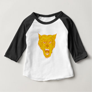 Angry Wolf Head Mono Line Baby T-Shirt