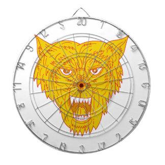 Angry Wolf Head Mono Line Dartboard