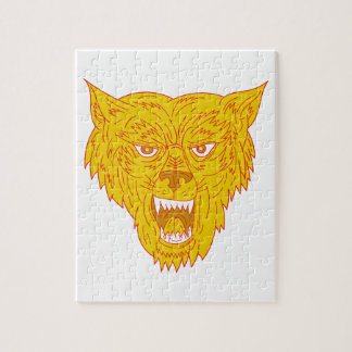 Angry Wolf Head Mono Line Jigsaw Puzzle